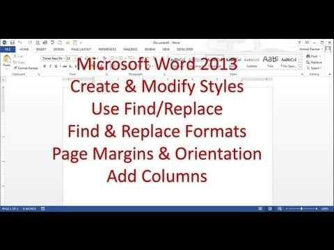 Microsoft Word 2013 Pt 4 (Oluşturmak Stilleri, Bul/değiştir, Kenar Boşluklarını Sayfa Düzenini, Yönlendirme, Sütun)