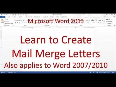 Adres Mektup Birleştirme Mektubu (Word 2013)
