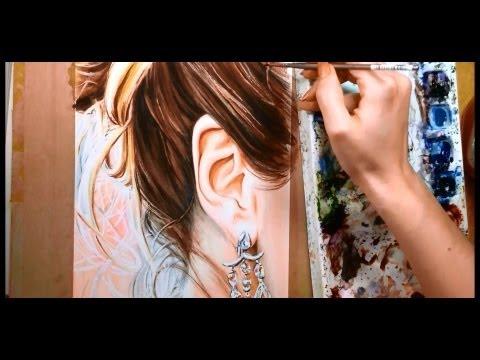 Nasıl Saç Ve Kulak - Suluboya Portre Öğretici Boya İçin