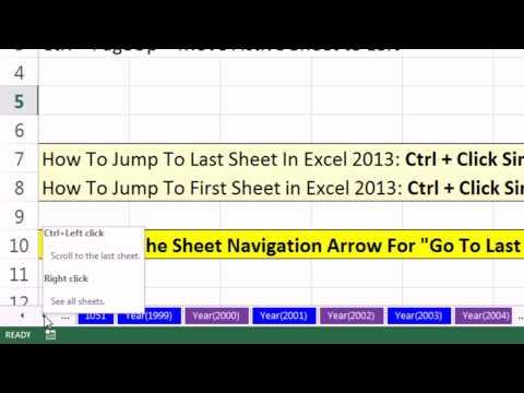 Excel Sihir Numarası 1050: Excel 2013 Sayfa Gezinti Oklarını Son Veya İlk Sayfa Nereye Gitmek İçin?