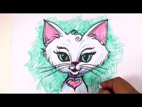 Kedi Çizim Ders Fantezi - Bir Egzotik Kedi Yüz Çizmek! -Mat