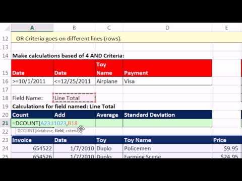 Highline Excel 2013 Sınıf Video 12: Ve Ve Veya Ölçüt Hesaplamaları: Dsum, Dcount Gibi D İşlevleri