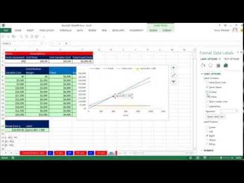 Highline Excel 2013 Sınıf Video 49: Break Bile Analiz Formülleri Ve Grafik, Hatta Kesme Noktası Olarak Çizme