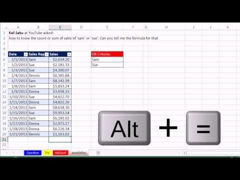 Bay Excel Ve Excelisfun Hile 149: Ekleme Veya Saymak Or Kriterleri İle: Epic Çift 13 Örnek Video