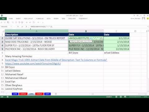 Excel Sihir Numarası 1096: Ayıklamak Tarihi Ortasından Açıklaması, Formül Daha İyi.
