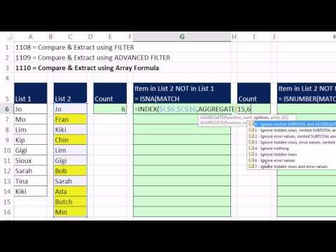 Excel Sihir Numarası 1110: Karşılaştır 2 Listeleri Ve Özü Kayıtları: Dizi Formül Yöntemi
