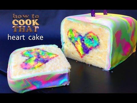 Gökkuşağı Kravat Boya Sürpriz Pasta Kalp O Ann Reardon Yemek Yapmayı
