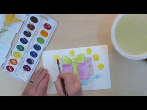 Çocuklar İçin Basit Resim Dersleri | Nasıl Çizmek Ve Bir Doğum Günü Hediyesi Boya | Cp