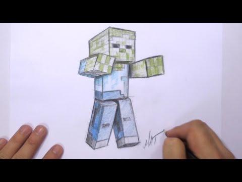 3D Minecraft Zombi Çizmeyi   Mat
