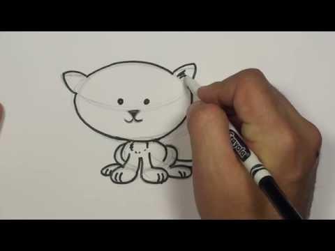 Bir Karikatür Kedi Çizmeyi   Mat