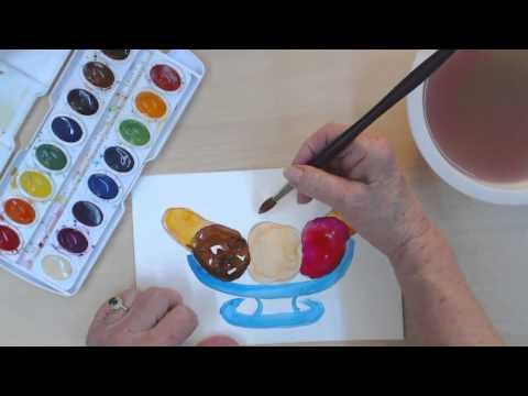 Çocuklar İçin Basit Resim Dersleri | Nasıl Çizmek Ve Muzlu Boya | Cp