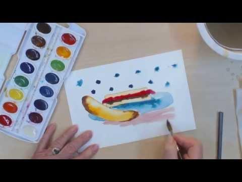 Çocuklar İçin Basit Resim Dersleri   Nasıl Çizmek Ve Fıstık Ezmesi Sandviç Boya   Cp