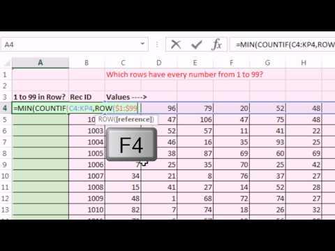 Bay Excel Ve Excelisfun Hile 167: Are Tüm Aralıktaki Sayıların 1-99? Dizi Formülü Veya Vba?