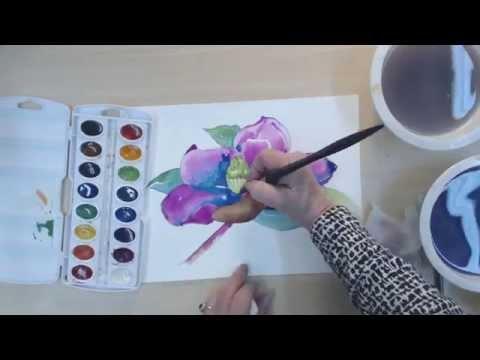 """""""neon"""" Manolya Çiçek Suluboya Resim - Hız Çizim Ve Boyama Hızlandırmak   Cp"""