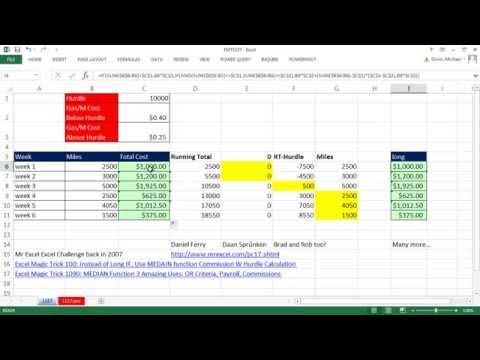 Excel Büyü Hüner 1157: Çalışan Toplam Atlar Üzerinde Engel Ve Gaz Kilometre İçin Azaltılmış Formül Maliyetidir
