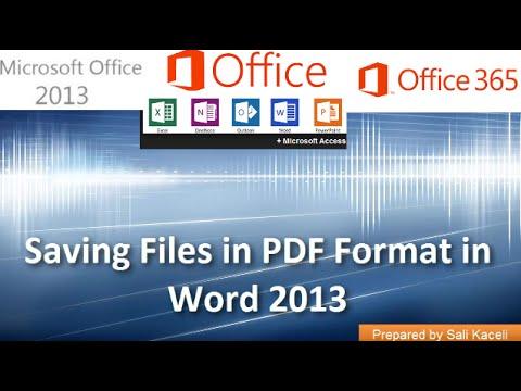 21. E-Posta Ve Kelime 2013 Bir Pdf Dosyası Oluşturma