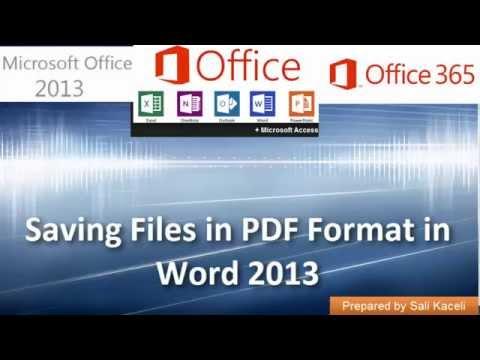 Word 2013 Üzerinden Pdf Formatında Dosyaları Kaydediliyor