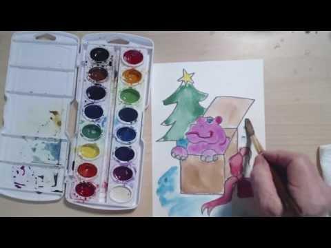 Noel Su Aygırı Suluboya Sanat Ders | Cp