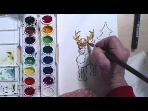 Noel Reindeer Suluboya Sanat Ders | Cp