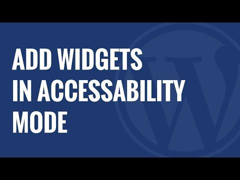 Nasıl Wordpress Widgets Erişilebilirlik Modunda Eklemek İçin