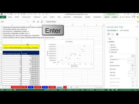 Excel 2013 İstatistiksel Analiz #13: Grafik Ve Eğilim Çizgisi, X Y Verisi, 2 Nicel Değişken Olan Dağılım