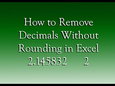 Nasıl Excel'de Yuvarlamadan Ondalık Kaldırmak İçin
