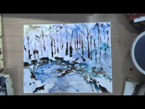 Snowy Orman Gölet Suluboya Speedpaint   Cp