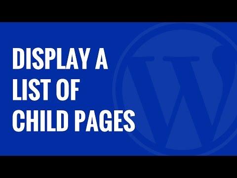 Nasıl Bir Ana Sayfa İçinde Wordpress İçin Alt Sayfaları Listesini Görüntülemek İçin