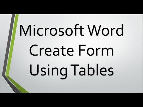 Microsoft Word Kullanarak Form Oluşturmayı