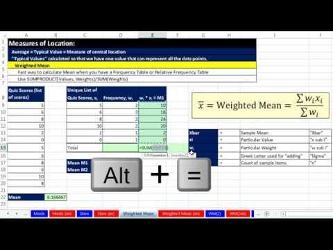 Excel 2013 İstatistiksel Analiz #17: Ağırlıklı Ortalama Ve Topla İşlevini Ve Muhasebe Örneği