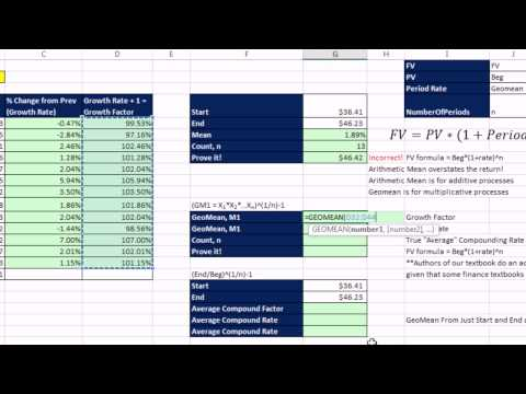 Excel 2013 İstatistiksel Analiz #18: Geometrik Ortalama, Ortalama Bileşik Oranı Geoort Ve Rrı