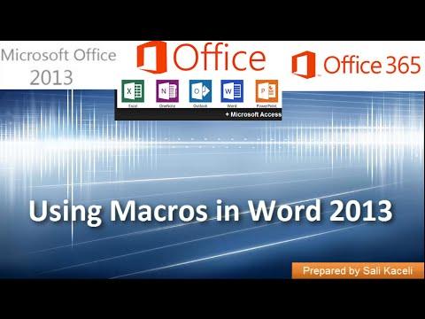 Oluşturma Ve Makrolar Word 2013 Yılında Kullanma