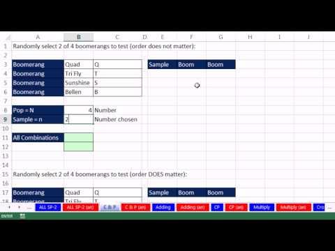 Excel 2013 İstatistiksel Analiz #26: Kombinasyonları Ve Permütasyon Ve Liste Örnek Noktaları
