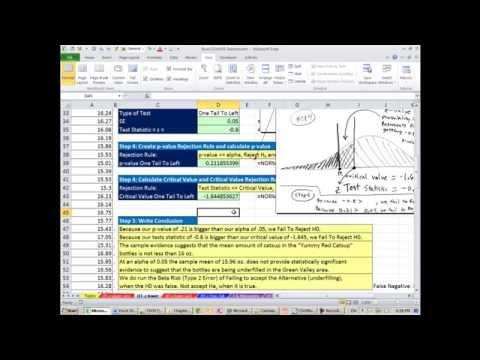 Excel 2013 İstatistiksel Analiz #54: 1 Kuyruk Sol Demek Hipotez Z Testi: P-Değeri Ve Kritik Değer