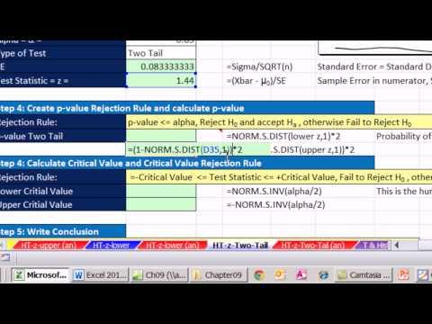 Excel 2013 İstatistiksel Analiz #55: 2 Kuyruk Z Skor Hipotez Testleri P-Değeri Kritik Değer Demek
