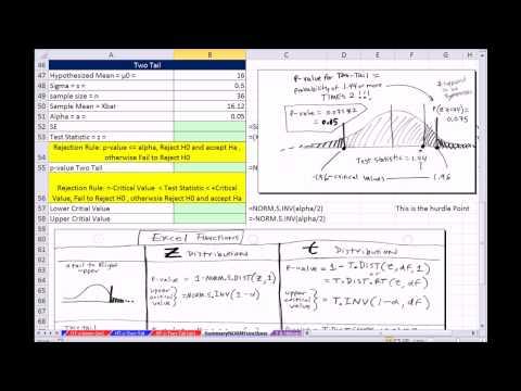 Excel 2013 İstatistiksel Analiz #56: Norm. S.dağ = P-Değeri, Norm. S.ınv Kritik Değer Sigma Bilinen =