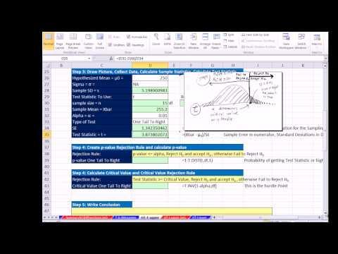 Excel 2013 İstatistiksel Analiz #57: 1 Kuyruk Değil Demek Hipotez T Test P-Değeri Ve Kritik Değer