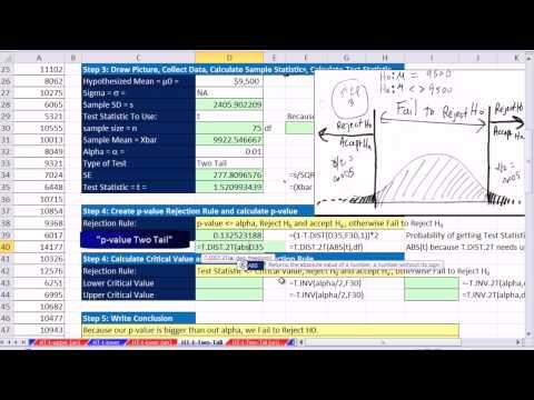 Excel 2013 İstatistiksel Analiz #59: 2 Kuyruk Hipotez T Testi Demek: P-Değeri Ve Kritik Değer