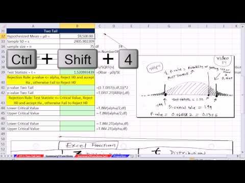 Excel 2013 İstatistiksel Analiz #60: T.dağ, T.dağ. Rt, T.dıst.2T, T.ınv, T.ınv.2T İşlevleri