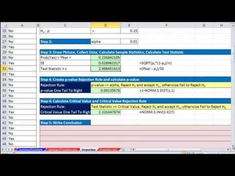 Excel 2013 İstatistiksel Analizi #61: P-Değeri Veya Kritik Değeri Kullanarak Oranlar Hipotez Testi