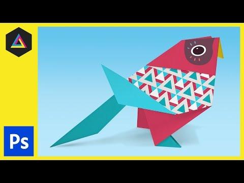 Origami Kağıt Kuş Ep28/33 [Yeni Başlayanlar İçin Adobe Photoshop] Dekorasyon