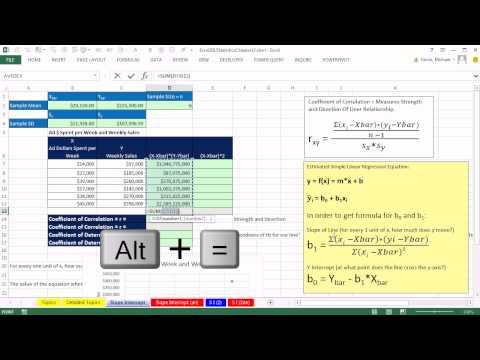 Excel 2013 İstatistiksel Analiz #62: Eğim Ve İçin Regresyon Çizgisinin Kesme Noktası Hesaplamak
