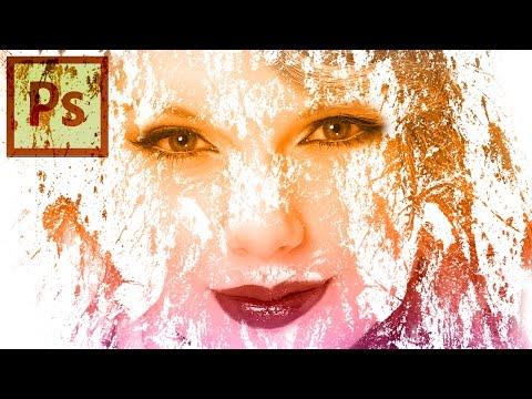 Photoshop Cs6 Eğitimi - Fotoğraf Efektleri Boya Splash Fırça Kullanarak Yüzünde Şaşırtıcı