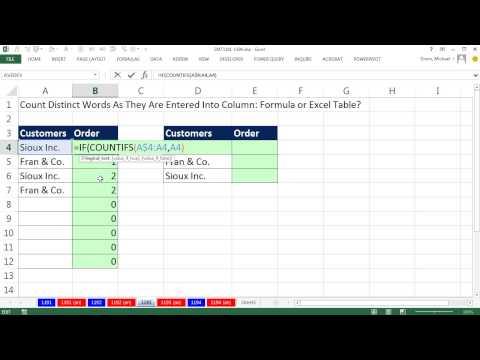 Excel Sihir Numarası 1193: Saymak Farklı Kelimeler Sütununda Girerken: Formül Veya Excel Tablosunu?