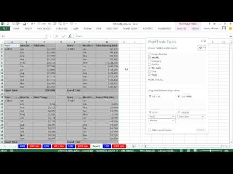 Excel Sihir Numarası 1203:2 Dilimleme Makineleri Kontrol 4 Özet Tablolar: Toplam Geçerli Toplam, Değişikliği Ve % Değişim