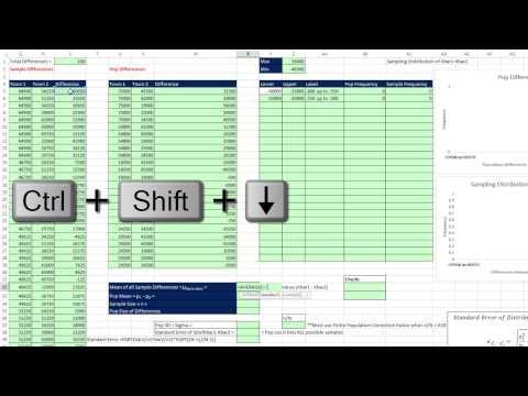Excel 2013 İstatistiksel Analiz #63: Xbar1-Xbar2 Ve Standart Hata Örnekleme Dağılımı