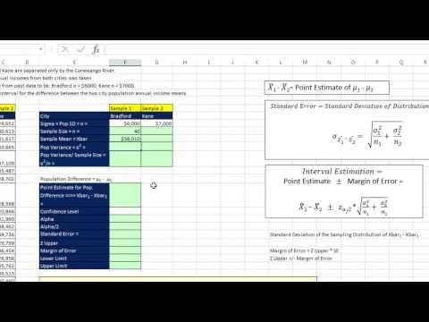 Excel 2013 İstatistiksel Analiz #64: Nüfus Farklılıkları Sigma Bilinen Güvenirlik Aralığı
