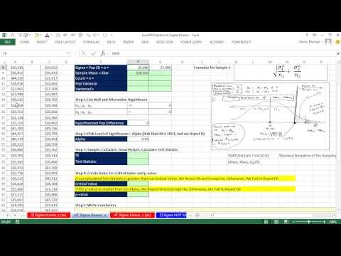 Excel 2013 İstatistiksel Analiz #65: Hipotez Testleri İçin Nüfus Farklılıkları Sigma Bilinen