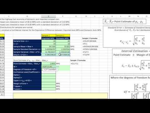 Excel 2013 İstatistiksel Analiz #66: Nüfus İçin Güvenirlik Aralığı Farklılıkları Sigma Değil Bilinen