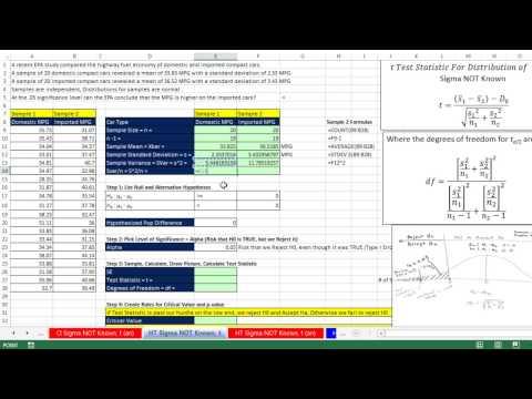 Excel 2013 İstatistiksel Analiz #67: Sigma Değil Farklılıklar Nüfus İçin Hipotez Testleri Bilinen